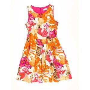 Eliza J Orange & Pink Floral Fit Flare Dress